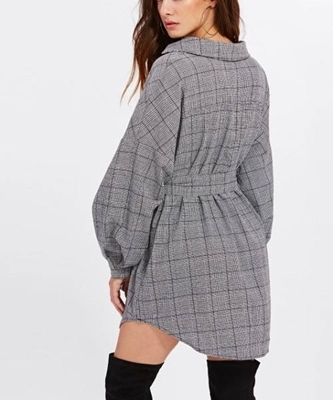 Picture of Dolphin Hem Surplice Front  Belted Plaid Dress