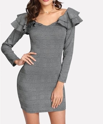 Picture of Plaid Tiered Ruffle Embellishing Neck Dress