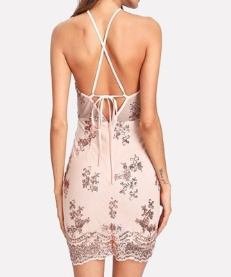 Picture of Criss Cross back Split Front Sequin Racer Dress