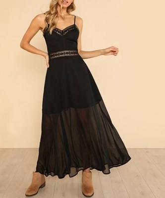 Picture of Floral Lace Insert Semi Sheer Cami Maxi Long Dress