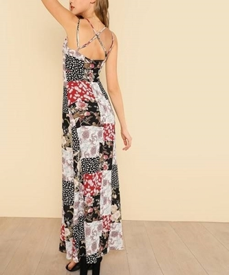 Picture of Floral Patchwork Crisscross Back Floral Print Cami Dress