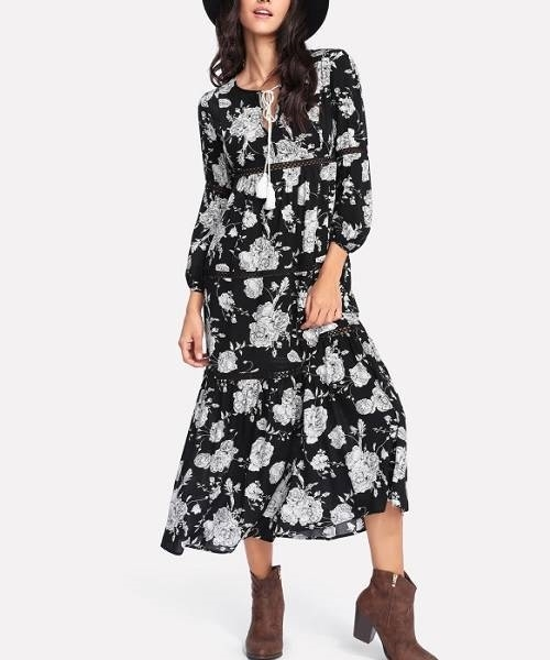 Picture of Tassel Tie Neck Lace Insert Floral Dress