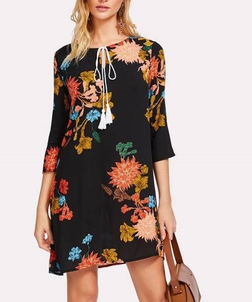 Picture of Tasseled Tie Botanical Tunic Dress