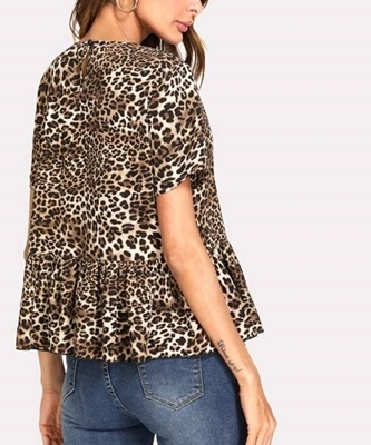 Picture of Allover Leopard Print Ruffle Hem Top