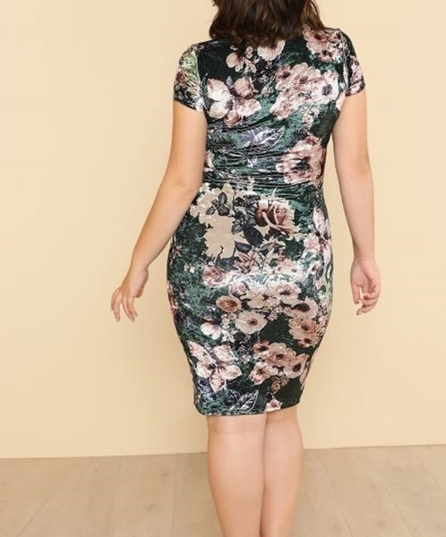 Picture of Flower Print Velvet Pencil Dress