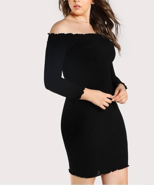 Picture of Rib Knit Off Shoulder Dress