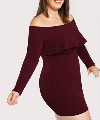 Picture of Flounce Bardot Bodycon Dress
