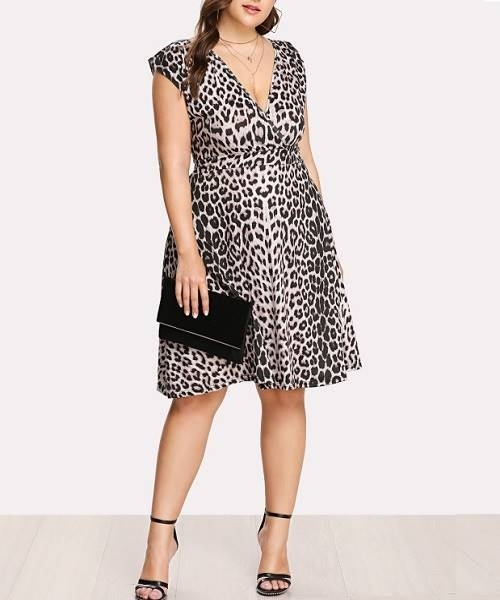 Picture of Surplice Neckline Leopard Dress