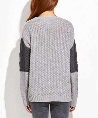 Picture of Color Block Mixed Knit Pullover Sweater