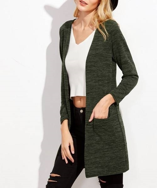 Picture of Dark Green Pockets Long Cardigan