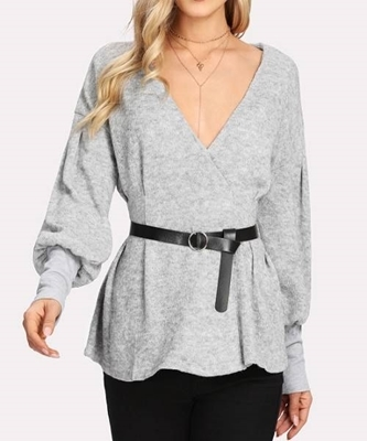 Picture of Surplice Neckline Heather Knit Jumper With Belt