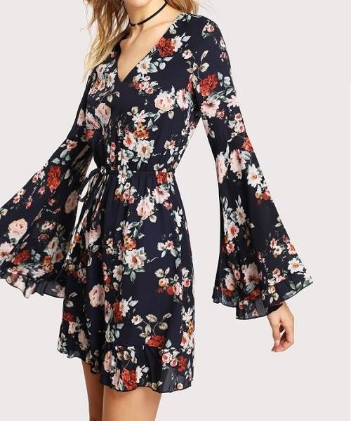 Picture of Bell Sleeve Drawstring Waist Calico Dress