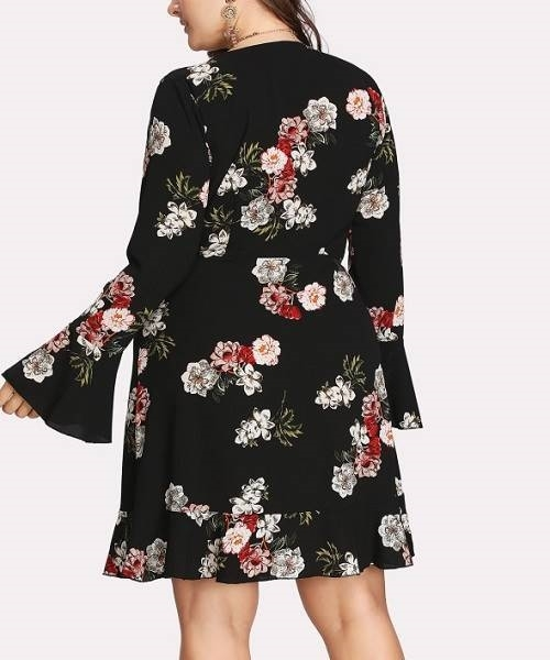 Picture of Ruffle Sleeve Surplice Floral Dress