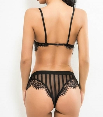 Picture of Black Eyelash Lace Lingerie Set