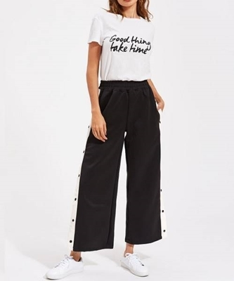 Picture of Contrast Snap Button Side Culotte Pants