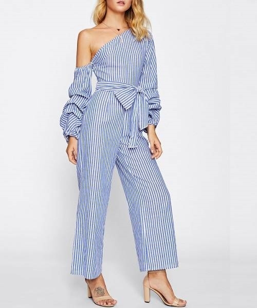 Picture of Asymmetric Shoulder Bow Waist Gathered Sleeve Jumpsuit