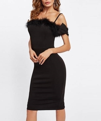 Picture of Bow Detail Faux Fur Trim Form Fitting Cocktail Dress