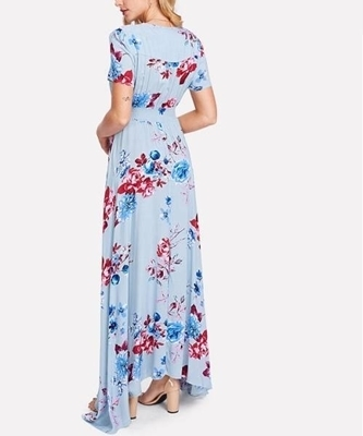 Picture of Button Up Front Tassel Tied Floral Maxi Long Dress