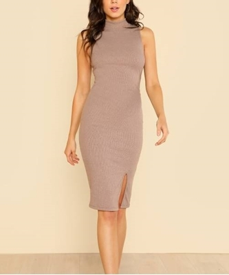 Picture of Split Front Rib Knit Fitted Dress