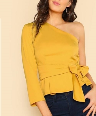 Picture of One Shoulder Tie Waist Top