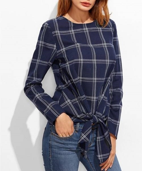 Picture of Plaid Grid Knot Front Top