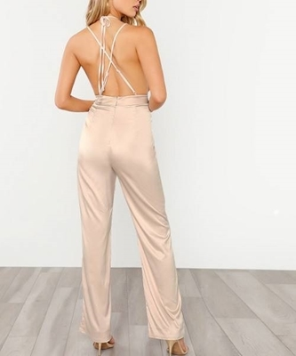 Picture of Halter Detail Plunge Sequin Bodice Jumpsuit