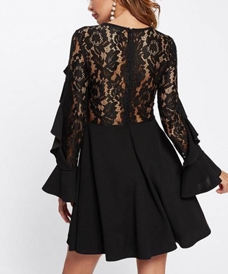 Picture of Contrast Lace Flounce Embellished Fitted & Flared Dress
