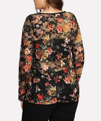 Picture of Colorful Floral Lace Plus Size Top