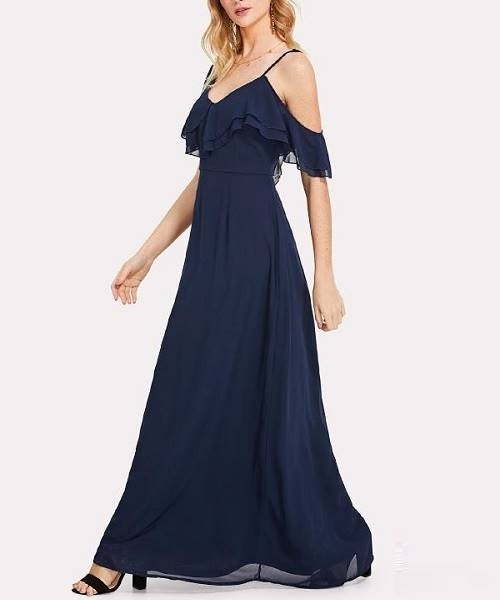 Picture of Asymmetric Shoulder Layered Flounce Maxi Dress