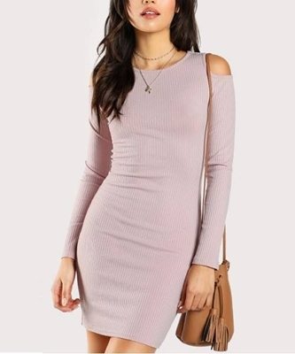 Picture of Open Shoulder Rib Dress