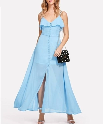 Picture of Ruffle Trim Button Up long Cami Dress