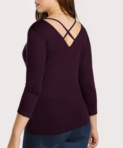 Picture of Crisscross Neck T-Shirt-Plus-Size