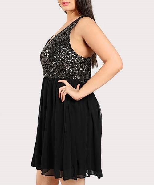 Picture of Contrast Sequin Crisscross Back Dress