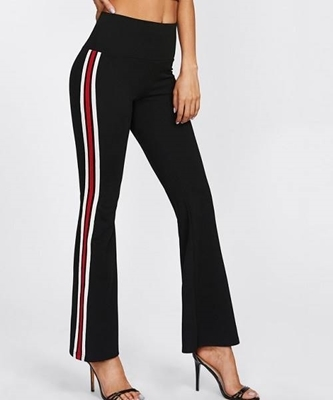 Picture of Wide Waistband Striped Sideseam Flared Pants