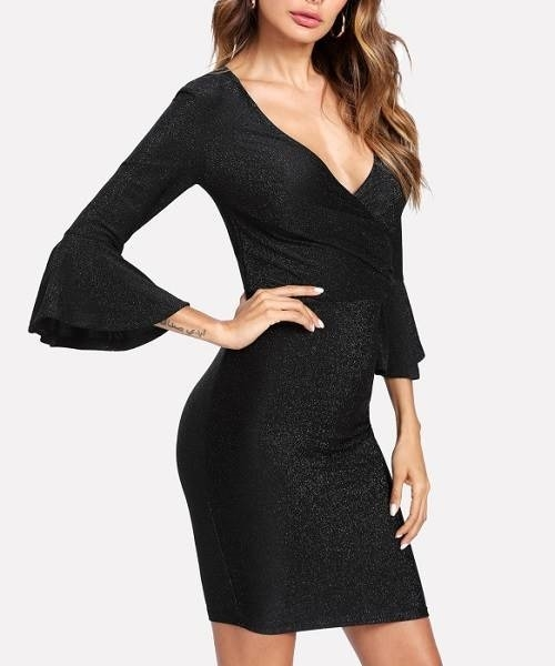 Picture of Trumpet Sleeve Ruched Wrap Dress