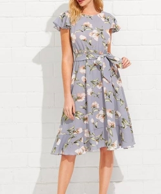 Picture of Flutter Sleeve Ruffle Hem Calico Print Dress