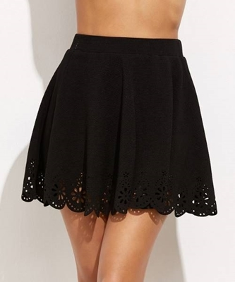 Picture of Laser Cutout Scallop Hem Textured Skirt