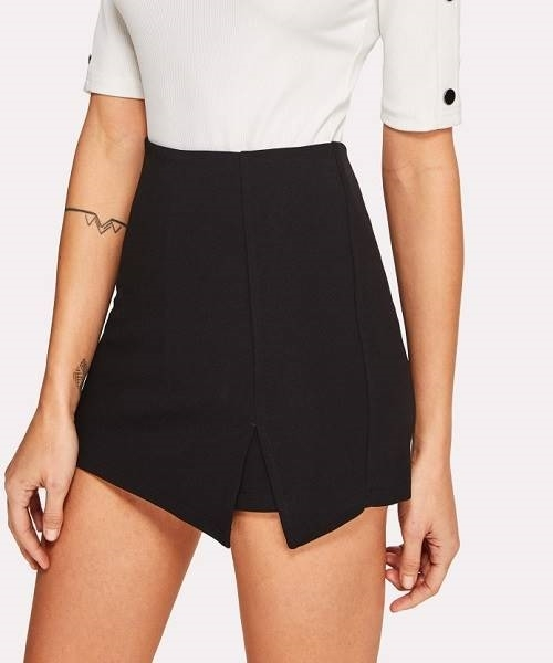 Picture of Split Front Solid Skirt Shorts