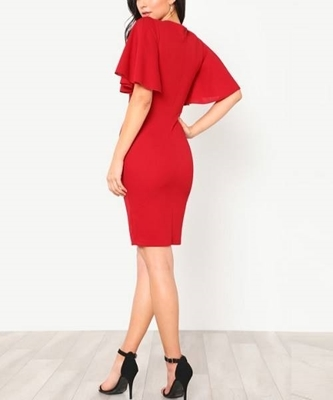 Picture of Exaggerate Bell Sleeve Pencil Dress
