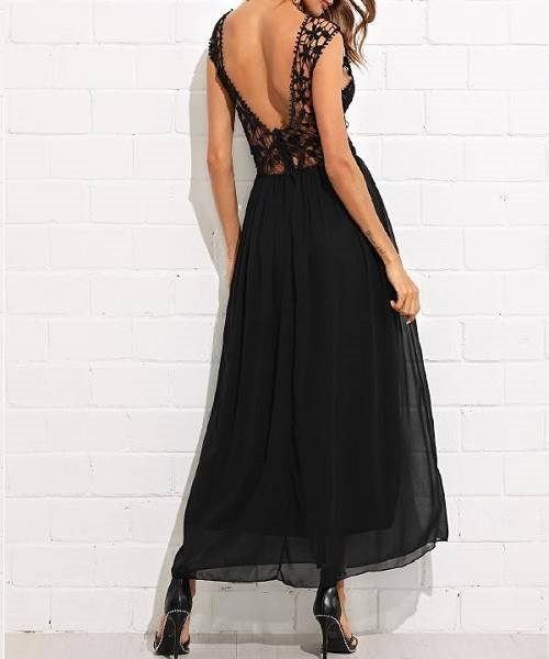 Picture of Lace Panel Open Back Flowy Dress
