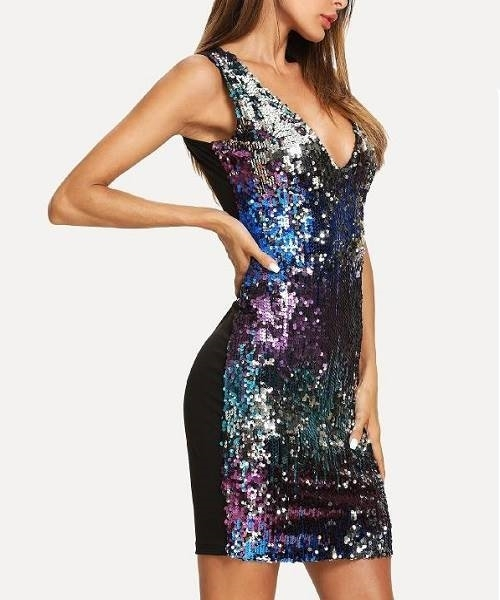 Picture of Sequin Deep V Neck Constrast Dress