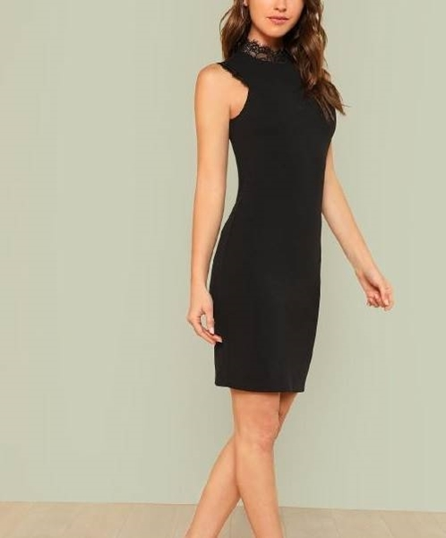 Picture of Lace Trim Form Fitted Party Dress