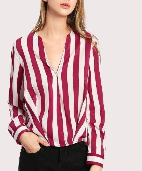 Picture of Striped Curved Dip Hem Blouse