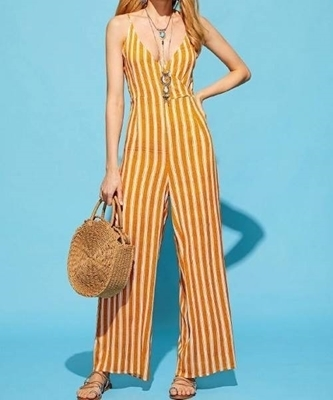 Picture of Mustard Wide Leg Striped Jumpsuit