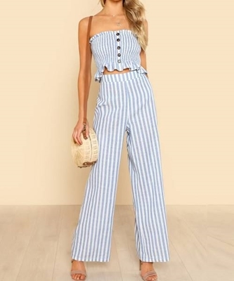 Picture of Shirred Ruffle Hem Strapless Top & Pants Set