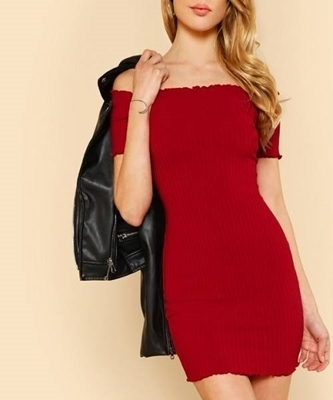 Picture of Lettuce Edge Detail Ribbed Off Shoulder Party Dress