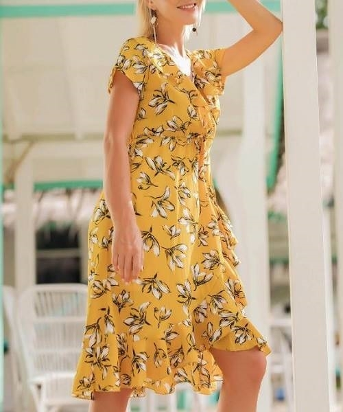 Picture of Floral Ruffle Trim Women Dress