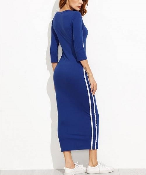 Picture of Half Sleeve Striped Side Seam Pencil Dress
