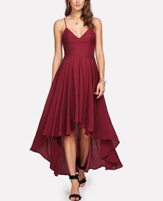 Picture of Lace Up Backless Dip Hem Cami Dress