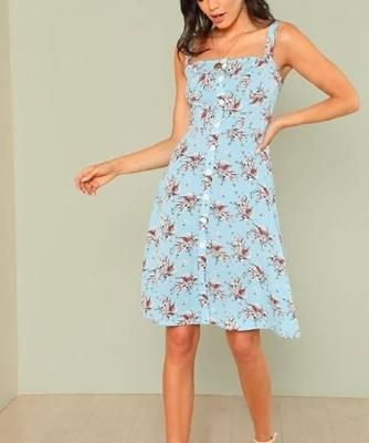 Picture of Floral Print Button Up Dress